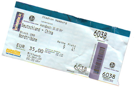 Deutschland - China Ticket
