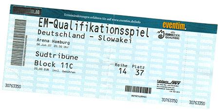 Deutschland - Slowakei Ticket