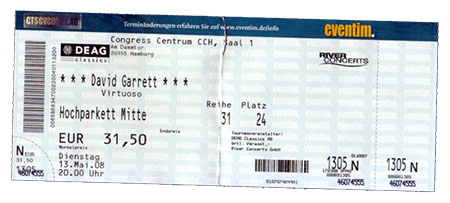 David Garrett Ticket