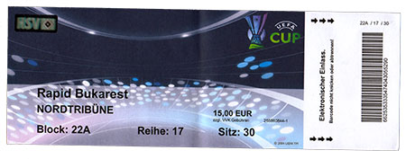 HSV - Rapid Bukarest Ticket