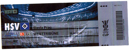 HSV - Slavia Prag Ticket