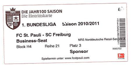 St.Pauli - Freiburg Ticket