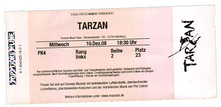 Tarzan Musical Ticket