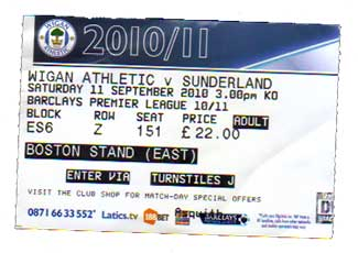 Wigan v Sunderland Ticket